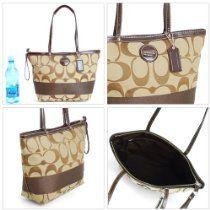 COACH Signature Stripe Shopper Bag Tote 17433 Mahogany Brown  From Coach  List Price:$288.00  Price:$190.00  #handbags # coach