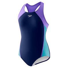 5c52c268167 Speedo Girls  Mesh Splice Thick Strap (7-16)- Navy Purple. Swimming GearKids  ...