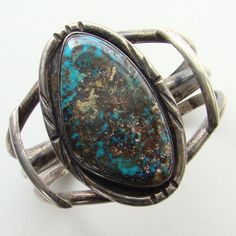 Old Southwestern Tribal Sterling Silver Turquoise by redroselady, $320.00