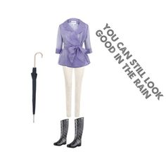 """Rainy day outfit""  Don't let the rain ruin your outfit. You can still look great with a cute raincoat. Don't forget your hunters so your feet stay nice and dry."