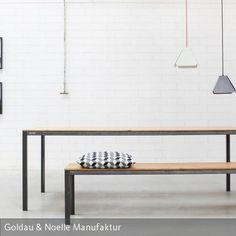 Loftfeeling für Dein Zuhause. Esstisch CARL ist ein zeitlos stylischer Tisch im angesagten Industrial Chic. Gefertigt aus nachhaltigem Massivholz…