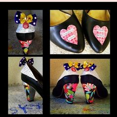 I renew my old shoes with decopatch and colorful ribbon !   Idea sent by Monka (mona.hojdanova@gmail.com) ! #Ribbon, #Shoes