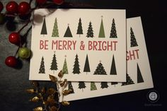 'Be Merry & Bright Christmas Card' Greeting Card by abigailhausman Christmas Greeting Cards, Merry And Bright, Sell Your Art, Parties, Graphic Design, Seasons, Holidays, Christmas Ornaments, Holiday Decor