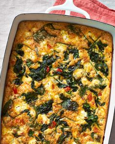 Make-Ahead Spinach and Feta Egg Casserole Recipe: Make-Ahead Baked Greek Omelet — Make-Ahead Breakfast Recipes Savory Breakfast, Make Ahead Breakfast, Breakfast Recipes, Breakfast Ideas, Breakfast Frittata, Morning Breakfast, Breakfast Dishes, Arabic Breakfast, Brunch Dishes