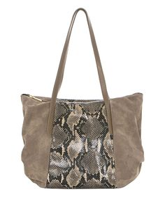 Look at this Beige Snake-Print Tote on #zulily today!