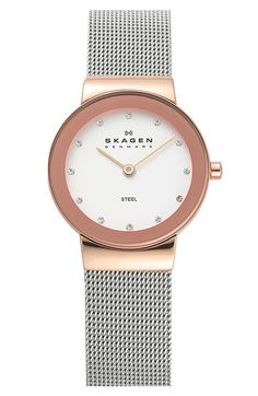 Skagen Round Case Mesh Strap Watch, 26mm at Nordstrom.com. A numberless dial is marked with crystallized elements on a two-tone watch finished with a gorgeous mirrored bezel and a comfortable mesh strap.