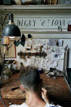 Aaron Ruff of jewellery label Digby & Iona shows Vogue his Brooklyn studio - Aaron Ruff in the Digby & Iona studio.