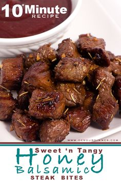Honey Balsamic Steak Bites | Devour Dinner. A Fun twist on a steak, steak bites are rich full of flavor you will come to love. Full Recipe. #devourdinner #recipes #recipe #food #Foodie #Foodblogger #easyrecipes #dinner #appetizer #Sidedish dessert #yummy #Easyrecipe #buzzfeast #steak #steakbite #honey #Balsamic
