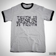 TRUTH IS JESUS  MENS CHRISTIAN T SHIRT http://ift.tt/1WLeFeX  Our Mens Christian T Shirt Truth is Jesus is one of our most popular screen printed designs. It is featured on a mens unisex 100% cotton ringer t-shirt.  TRUTH IS JESUS John 14:6  Jesus answered I am the way and the truth and the life. No one comes to the Father except through me.  HOW TO MEASURE CHEST With arms down at sides measure around the upper body finally under arms and over the fullest part of the chest.  SIZE SHIRT…