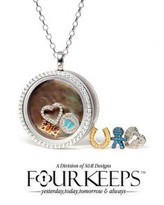 """For yesterday, today, tomorrow and always, #FourKeeps is a fashion faithful that offers  a line of everyday, customizable and open-able sterling silver lockets set with natural stones and an extensive range of charms. Whether you wish to create a moment piece or something that is simply """"you"""", FourKeeps will evolve with you. Available at Brinker's."""