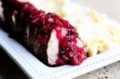 Pork loin with cranberry sauce