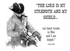 Cowboy with Bible Verse Drawing  - Cowboy with Bible Verse Fine Art Print