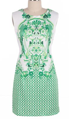 #SheInside Green Sleeveless Retro Porcelain Print Sheath Midi Dress - Sheinside.com