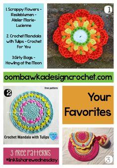 Your Favorite Scrappy Flowers, Tulip Mandala and Girly Purses! http://oombawkadesigncrochet.com/2016/06/your-favorite-scrappy-flowers-tulip-mandala-and-girly-purses.html