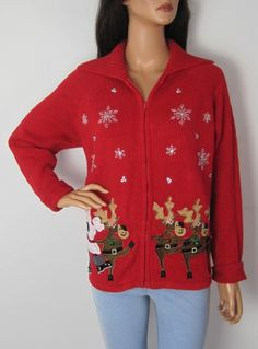 Vintage 1980s Novelty Festive Christmas Cardigan from Virtual Vintage Clothing