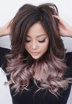 Rose gold balayage ombre on brunette hair
