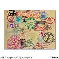 Vintage Passport Stamps Postcard | Zazzle.com