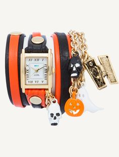 La Mer Collections - Gold Square Case. Black-Orange Mix Up Layer with Gold Rivets. Halloween Charms  This is cute, but they need to do a Dia de los Muertos watch.  I'd buy that.  Not to mention, DdlM is HUGE right now.  #lamercollections