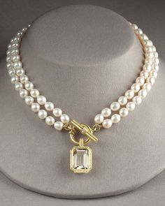 gorgeous double strand pearl necklace