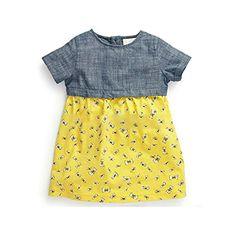 Pink Lizard 2015 New Little Maven Baby Girl Children Summer Blue Top &Yellow Cotton Dress