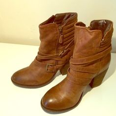 Steve Madden - Cognac Leather Booties Lightly worn, only worn once! It beautiful condition. No box. Has a zip up closure. Steve Madden Shoes