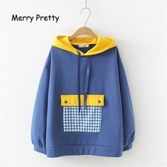Women Plaid Patchwork Hit Color Hooded Sweatshirts Winter Long Sleeve Plus Velvet Drawstring Hoodies Loose Pullover - cute hoodie Pullover Hoodie, Sweater Hoodie, Hooded Sweatshirts, Hoody, Kawaii Fashion, Cute Fashion, Plaid Patchwork, Trendy Outfits, Fashion Outfits