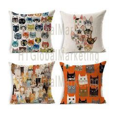Cats Printed Cushion Cover Decorative Sofa by HTGlobalMarketing