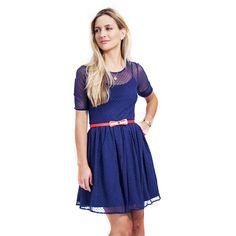 Blue dress / red bow belt
