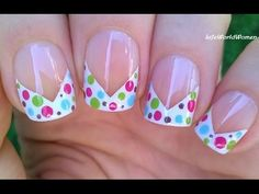 Chevron FRENCH MANICURE With Colorful Dot Design / TAPE NAIL ART - YouTube