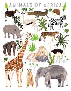 African Animals Print. $24.00, via Etsy.