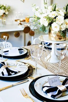 Kameela of Tutus & Bowties styled a chic and modern bridal shower inspired by a gold, black, and champagne invitation from Tiny Prints. This is the perfect idea for any contemporary bride-to-be! @tbowties