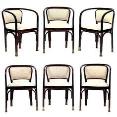 Six Vienna Secession Bentwood Armchairs with Brass Sabots by Gustav Siegel