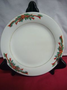 "Holiday Poinsettias & Ribbons Salad/Bread Plate 7 1/2"" Christmas Dish Replacemnt"