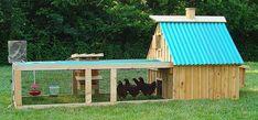Leuk zelfgemaakt huisje voor kippen met een ruime uitloopmogelijkheid.