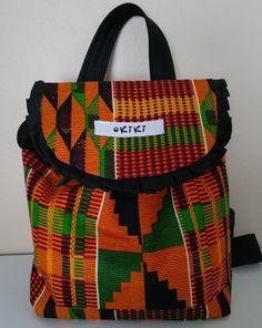 Afri-Cutie kente cloth Backpack by OkikiGabini on Etsy African Inspired Fashion, African Men Fashion, African Wear, Baby Backpack, Backpack Outfit, African Accessories, Bag Accessories, Ankara Designs, Ankara Styles