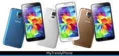 Samsung S5 verkrijgbaar in verschillende kleuren waaronder Charcoal Black, Shimmery White, Electric Blue en Copper Gold.