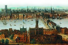 An oil painting of London viewed from Southwark in the mid-1600s before the Great Fire
