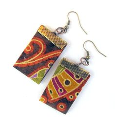 Oriental fantasy fabric earrings  in asymmetrical by Gilgulim, $14.80