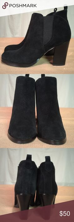 New Mark Fisher Black Suede Ankle Boots These boots are Brand New/Never Worn and are in PERFECT CONDITION. The heel height of this shoe is 3.5 inches tall. Mark Fisher Shoes Heeled Boots