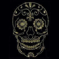 Bling Skull Iron On Rhinestone Transfer Wholesale Maybe a quilling pattern Sugar Skull Painting, Sugar Skull Art, Dot Painting, Sugar Skulls, Rhinestone Art, Rhinestone Transfers, Dots Design, Skull Design, Skull Print