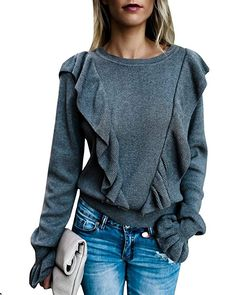 9544cfe47c Imily Bela Women s Crew Rib Ruffle Front Puff Long Sleeve Blouse Sweater  Crop T Shirts at Amazon Women s Clothing store