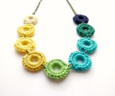 Knitted Necklace Handmade Jewellery Craft Etsy Green Blue Yellow  http://www.gemmawild.co.uk