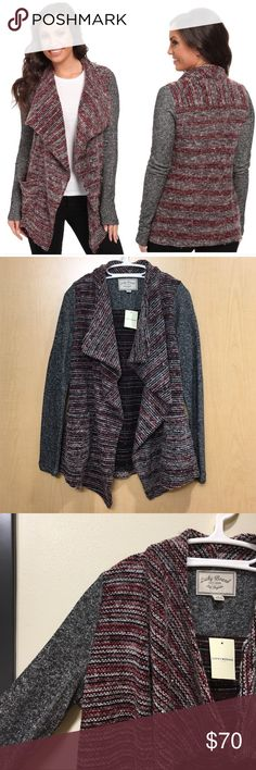 Lucky Brand Mix Wrap Woven black and red marled open front drapey cardigan. Super cute and perfect as a gift or for the holidays! Striped design. Has two pockets on the front. Sleeves are a blend or grey, black and white. Lucky Brand Sweaters Cardigans