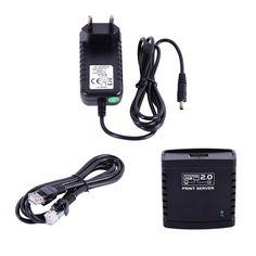 USB 2.0 LRP Servidor de Impresión para Compartir una LAN Red Ethernet Hub Adaptador de Corriente Enchufe de LA UE