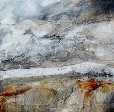 "artpropelled: "" Across the Miles by Louise O'Hara "" Landscape Artwork, Abstract Landscape, Abstract Art, Mixed Media Canvas, Mixed Media Art, Examples Of Art, Art Textile, Encaustic Art, Sky Art"
