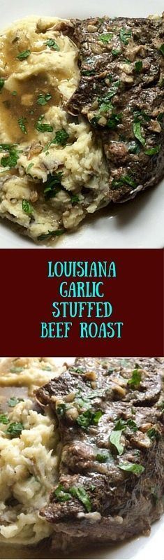 Healthy. Soul-warming. Ultra-tasty, and easy like Sunday morning...Louisiana garlic stuffed beef roast. Stuff it the night before, then slow-cook the gluten free and Paleo chuck roast for a hearty meal you'll be proud to serve on Sunday and every other day of the week.. | asprinklingofcayenne.com