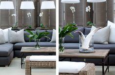 The Private House Company - grey sofa Grey Interior Design, Open Layout, Gray Sofa, Apartment Design, Outdoor Furniture, Outdoor Decor, Interior Inspiration, Rooftop Gardens, Contemporary