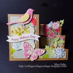 Mother's Day card created by Mou Saha using Step-up card die by Stephanie Barnard and Floral Wreath dies by Brenda Walton for Sizzix Fancy Fold Cards, Folded Cards, Side Step Card, Exploding Box Card, Step Cards, Interactive Cards, Shaped Cards, Mothers Day Cards, Pop Up Cards
