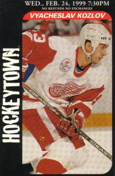 Vyacheslav Anatolevich 'Slava' Kozlov (born May 3, 1972, Voskresensk, Russia) is a Russian professional ice hockey left winger who plays for Dynamo Moscow of the Kontinental Hockey League. He is a two-time Stanley Cup champion (1997, 1998) from his years playing with the Detroit Red Wings. In February 2011, he left HC CSKA Moscow, with whom he had signed a 1-year deal, to join playoff-bound Salavat Yulaev Ufa. He joined Dynamo Moscow for the 2011-12 season.