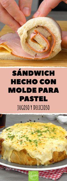Sándwich hecho con molde para pastel. Sándwich XXL de queso y jamón hecho en molde para pastel #sandwich #sandwichmixto #jamon #queso #recetas #sandwichdejamonyqueso #gigante